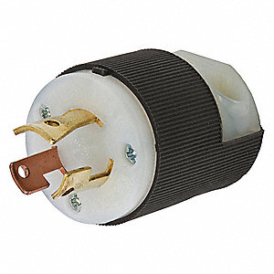 15/10A Industrial Grade Non-Shrouded Locking Plug, Black/White; NEMA Configuration: Non-NEMA, 15A