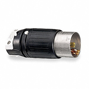 50A Industrial Grade Shrouded Locking Plug, Black/White; NEMA Configuration: Non-NEMA, 50A