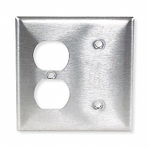 Duplex/Blank Wall Plate, Silver, Number of Gangs: 2, Weather Resistant: No