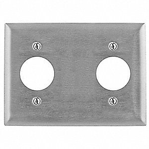 Duplex Receptacle Wall Plate, Silver, Number of Gangs: 3, Weather Resistant: No