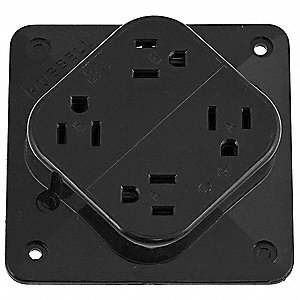 Receptacle,Quad,15A,5-15R,125V,Black