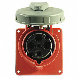 32 Amp, 1-Phase Zytel 101 Nylon Watertight Pin and Sleeve Receptacle, Red