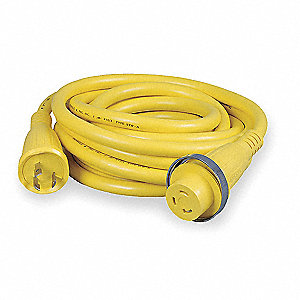 50 ft. Indoor or Outdoor Extension Cord&#x3b; Max Amps: 30, Number of Outlets: 1, Yellow
