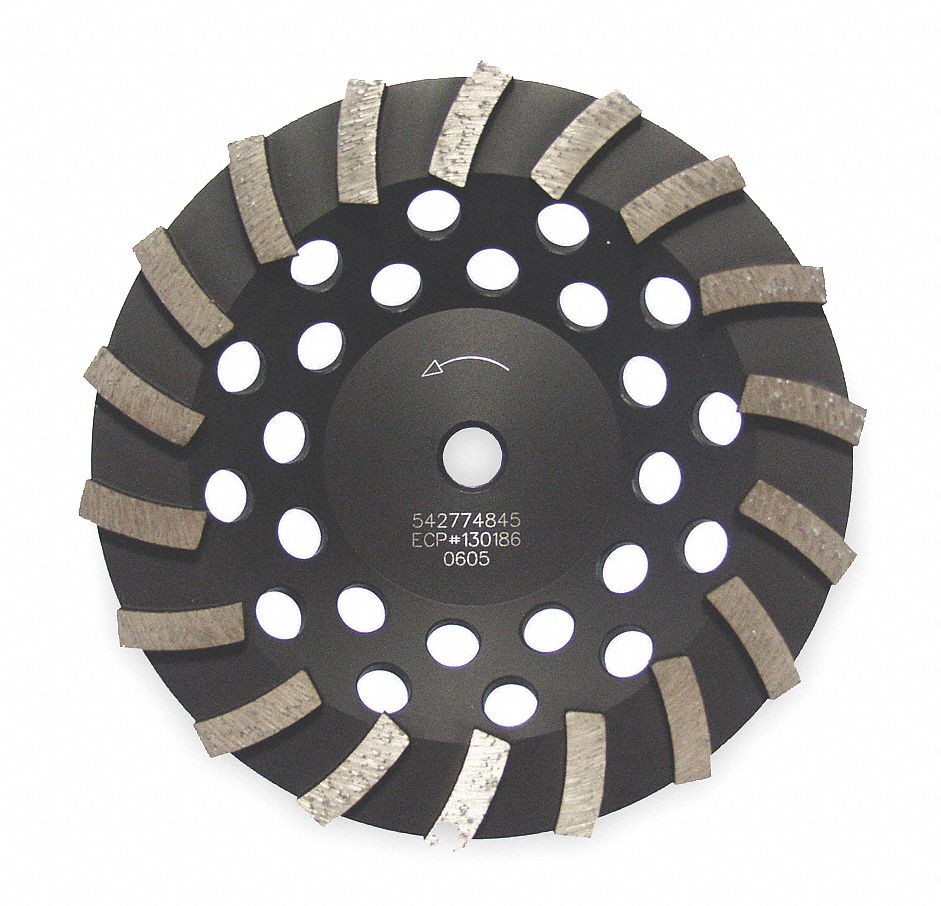 "Turbo Segment Cup Grinding Wheel,  7 in,  5/8""-11 Arbor Size,  8,600 RPM Max. RPM"