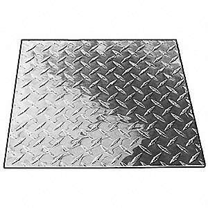 "Aluminum Plate Stock, Tread Pattern, Alloy Type 3003, 1 ft. L, 1 ft. W, 1/8"" Thickness"