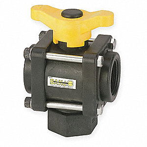 Poly Ball Valve,3-Way,FNPT,1-1/2 in