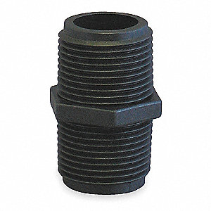 "3"" Hex Nipple, Polypropylene, Max. Pressure 150 psi, Black"