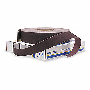 "Abrasive Roll,1""W x 150 ft. L,80G,Brown"