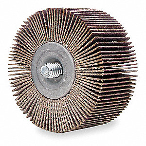 "2"" Mounted Flap Wheel With Shank, Coated, 1"" Width, 1/4""-20 Shank Size, Aluminum Oxide, 180 Grit"