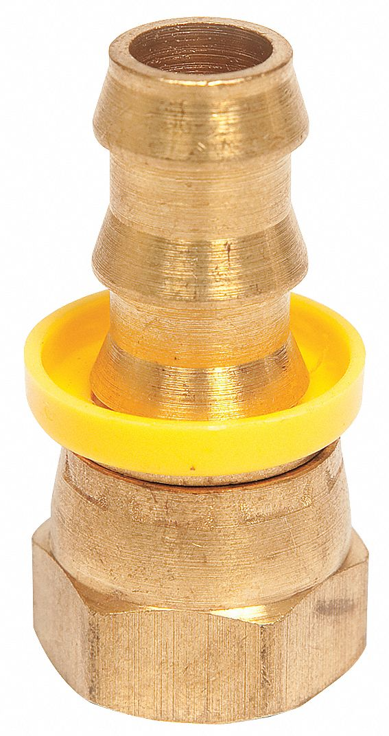 Push-On Hose Fitting,  Fitting Material Brass x Brass,  Fitting Size 1/2 in x 1/2 in