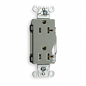 20A Commercial Environments Receptacle, Gray; Tamper Resistant: No
