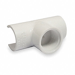 Tee,Snap On,1 x 1/2 In,Snap x FPT,PVC