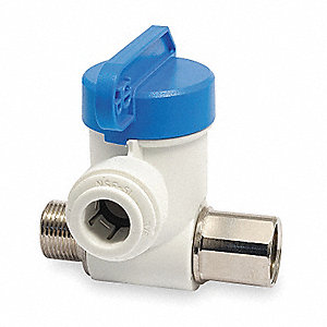"Polypropylene/Nickel Brass MNPS x Female Compression Stop Valve Adapter, 1/4"" Tube O.D."