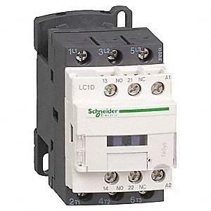 IEC Magnetic Contactor, 24VAC Coil Volts, 9 Full Load Amps-Inductive, 1NC/1NO Auxiliary Contact Form
