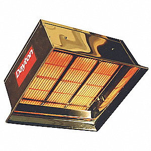 "Commercial Infrared Heater, NG, BtuH Input 90,000, 1/2"" NPT, Voltage 24"
