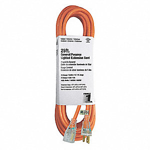 Extension Cord,25 ft.,Orange,16/3 ga.