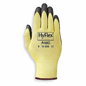 Nitrile Cut Resistant Gloves, ANSI/ISEA Cut Level 2, Kevlar® Lining, Yellow/Black, L, PR 1