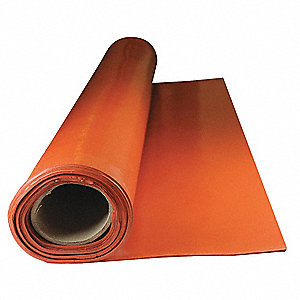 "Silicone Rubber Sheet, 36""W x 5 ft.L x 1/16""Thick, 40A, Plain Backing Type, 350% Elongation, Red"