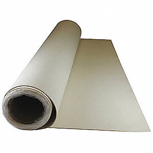 "Neoprene Rubber Roll, 36""W x 15 ft.L x 3/32""Thick, 50A, Plain Backing Type, 500% Elongation, White"