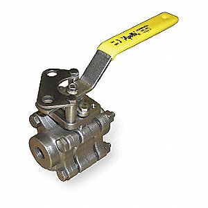 "316 Stainless Steel FNPT x FNPT Ball Valve, Locking Lever, 1-1/2"" Pipe Size"