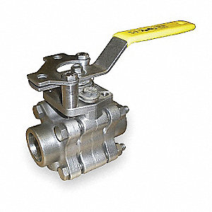 "316 Stainless Steel Socket x Socket Ball Valve, Locking Lever, 1/2"" Pipe Size"