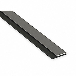 "Single Fin Door Sweep, Stainless Steel, 4 ft. Length, 1-1/4"" Flange Height, 5/16"" Insert Size"