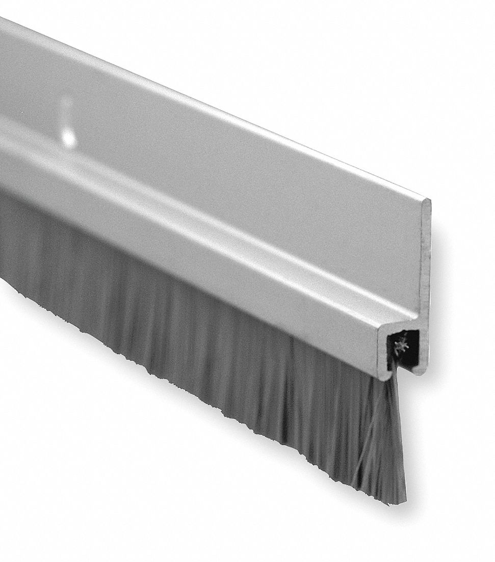 Brush Door Sweep, Anodized Aluminum, 3 ft Length, 3/4 in Flange Height, 5/8 in Insert Size