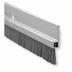 "Triple Fin Door Sweep, Anodized Aluminum, 7 ft. Length, 3/4"" Flange Height, 5/8"" Insert Size"
