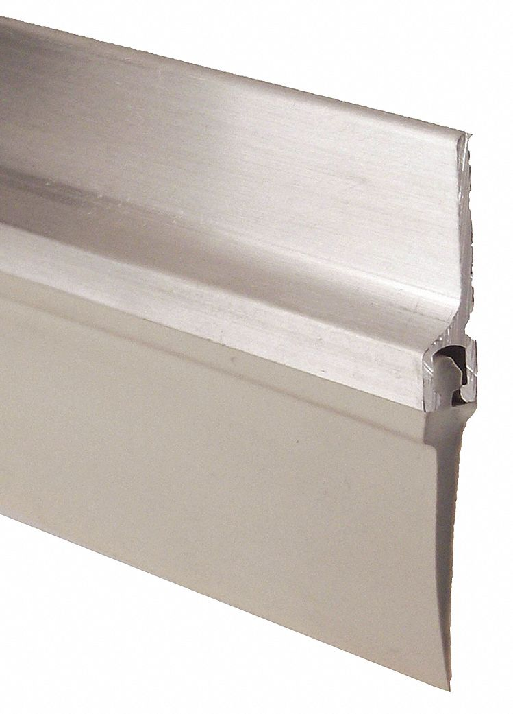 Single Fin Door Sweep, Aluminum, 4 ft Length, 3/4 in Flange Height, 7/8 in Insert Size