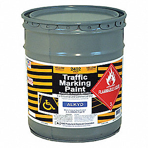 Heavy Yellow Traffic Zone Marking Paint, Alkyd Solvent Base Type, 5 gal.