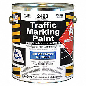 White Traffic Zone Marking Paint, Chlorinated Solvent Base Type, 1 gal.