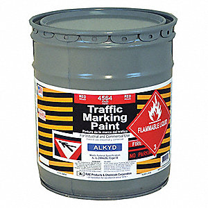 Alkyd Solvent-Base Traffic Zone Marking Paint, Bright Red, 18.9L