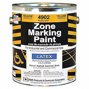 Latex Acrylic-Base Traffic Zone Marking Paint, Yellow, 3.78L