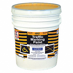 Yellow Traffic Zone Marking Paint, Latex Acrylic Base Type, 5 gal.