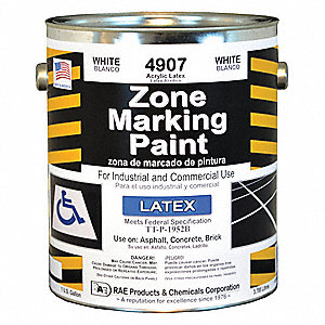 White Traffic Zone Marking Paint, Latex Acrylic Base Type, 1 gal.
