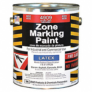 Red Traffic Zone Marking Paint, Latex Acrylic Base Type, 1 gal.