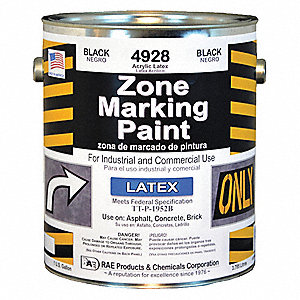 Latex Acrylic-Base Traffic Zone Marking Paint, Black, 3.78L