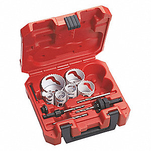 "10-Piece Plumbers Hole Saw Kit for Metal, Range of Saw Sizes: 3/4"" to 2-1/4"""
