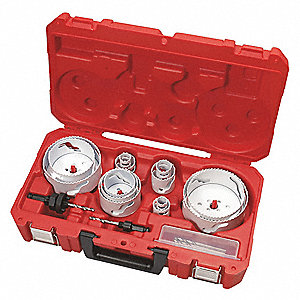 "18-Piece Plumbers Hole Saw Kit for Metal, Range of Saw Sizes: 3/4"" to 4-1/2"""