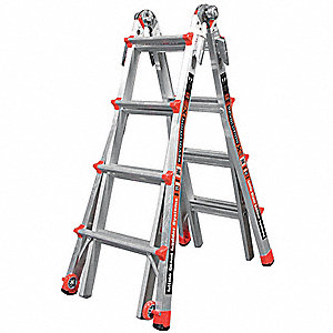 Aluminum Multipurpose Ladder, 9 to 15 ft. Extended Ladder Height, 300 lb. Load Capacity