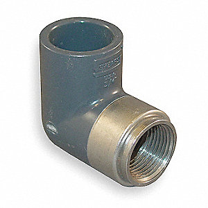 "PVC Elbow, 90°, Short Sweep, FNPT x Socket, 3/4"" Pipe Size - Pipe Fitting"