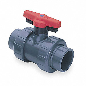 "PVC FNPT x FNPT Ball Valve, Locking Tee, 4"" Pipe Size"