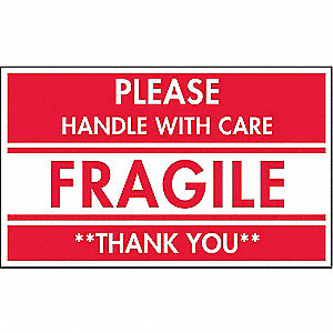 "Shipping Labels, Fragile Thank You Legend, Paper, Adhesive Back, 5"" Width, 3"" Height"