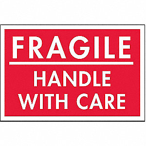 "Shipping Labels, Fragile Handle with Care Legend, Paper, Adhesive Back, 3"" Width, 2"" Height"