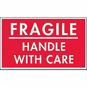 "Shipping Labels, Fragile Handle with Care Legend, Paper, Adhesive Back, 5"" Width, 3"" Height"