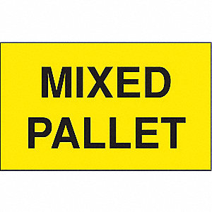 "Shipping Labels, Mixed Pallet Legend, Paper, Adhesive Back, 5"" Width, 3"" Height"