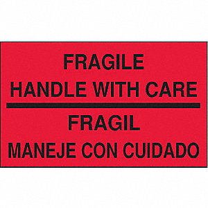 "Bilingual Shipping Labels, Fragile Handle with Care/Fragil Manege Con Cuidado, 5"" x 3"", PK 500"