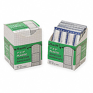 "Plastic Strip Bandages, 3"" x 1"", Beige"