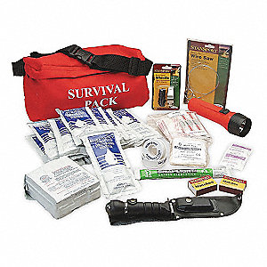 Survival Fanny Pack,25 Piece,Red