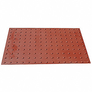 "Brick Red Wet-Set ADA Warning Pad, 3 ft. Length, 2 ft. Width, 3/4"" Depth"